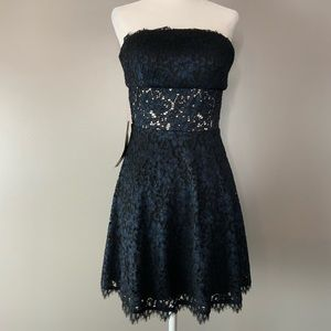 NWT Bebe Lace and Ponte Strapless Dress